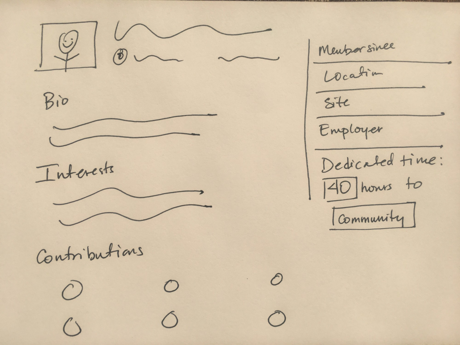 """A hand-sketched example of a WordPress.org profile, with the added feature of a section on the right-aligned sidebar that says """"Dedicated time: (box with """"40"""" inside it) hours to (box with """"community"""" inside it)."""