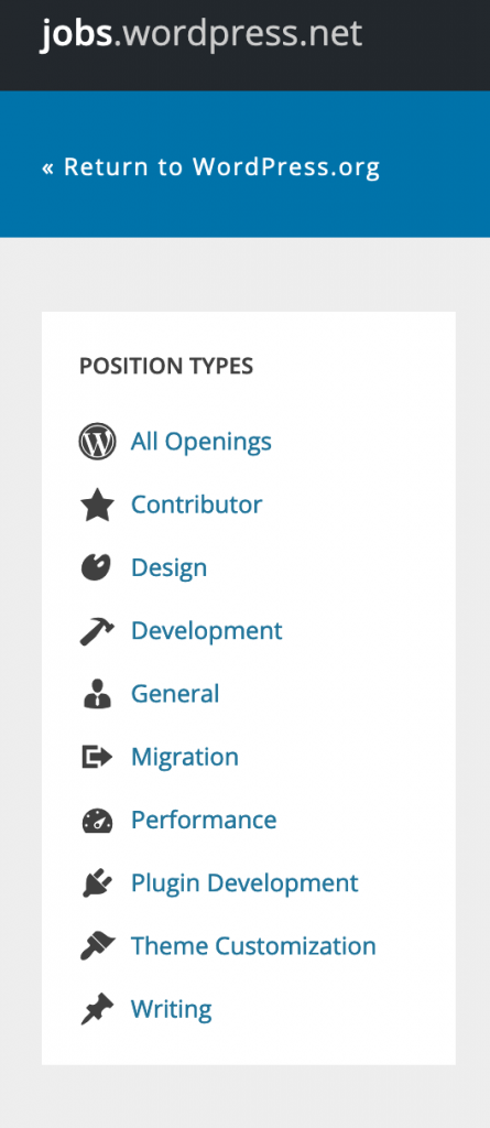 The left sidebar of jobs.wordpress.net, with a list of Position Types, including Contrib