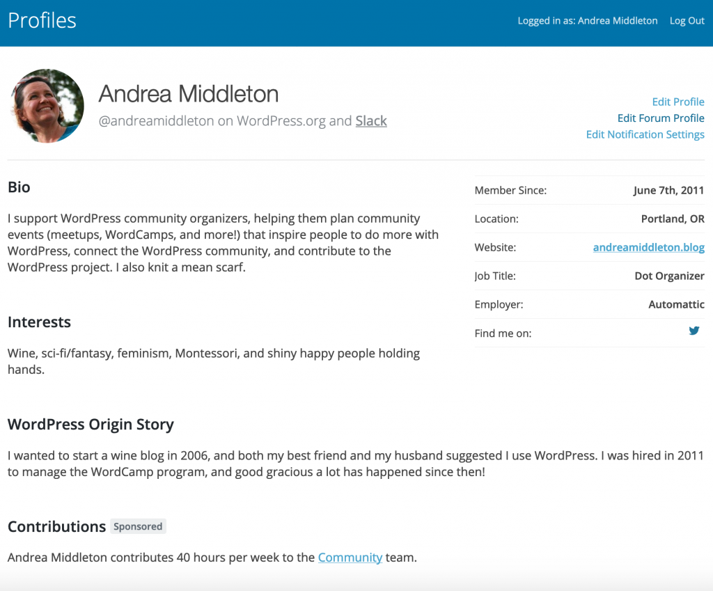 "Screenshot of a WordPress profile from the front end, showing the new data ""Contributions"", ""sponsored,"" and the hours per week and team selection"